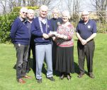 Lion President Ed with supporting Lions present Mary Bolshaw from Hospiscare with £300