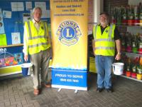 Lion Tom and Brian collecting at Tesco