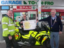 Freewheeler Treey with Richard from Honiton Garage and Lion President Ed