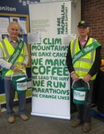Lions Barry and Ed assisting Macmillan with collection in Honiton